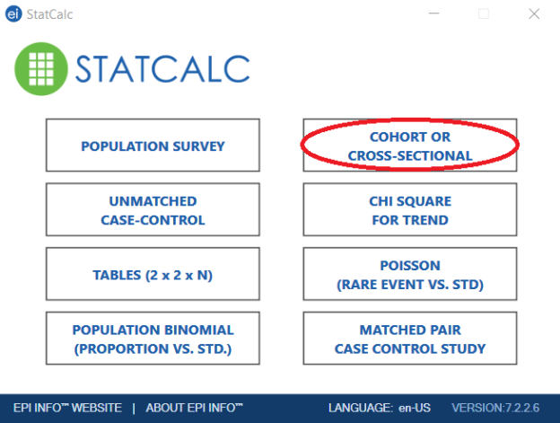 2. Epi Info 7 StatCalc window with cross sectional study selected