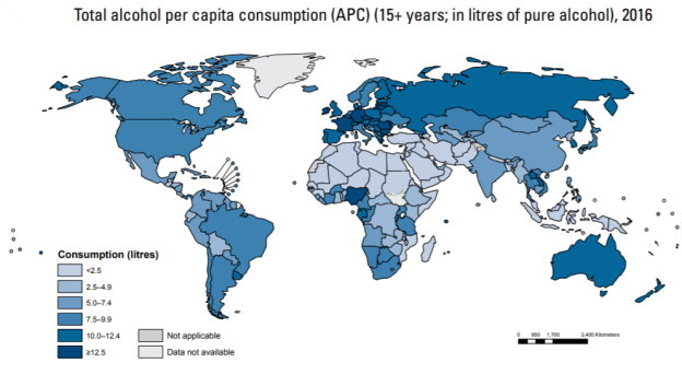 WHO Alcohol and health. Total per capita consumption in litres 2016.